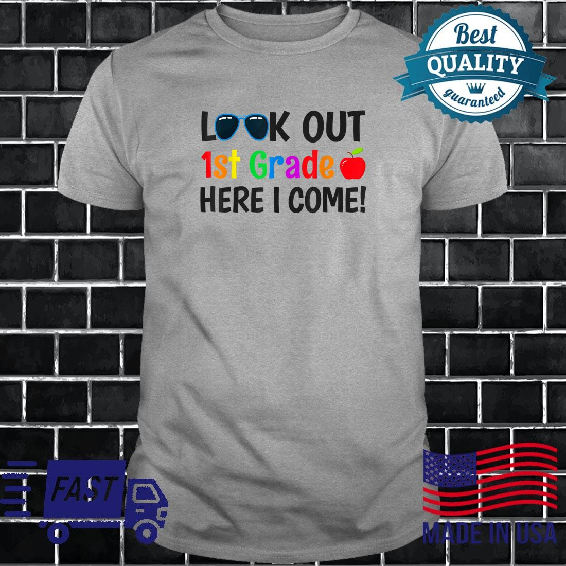 1st Grade Apparel Boys Look out 1st Grade Here I Come Shirt long sleeved