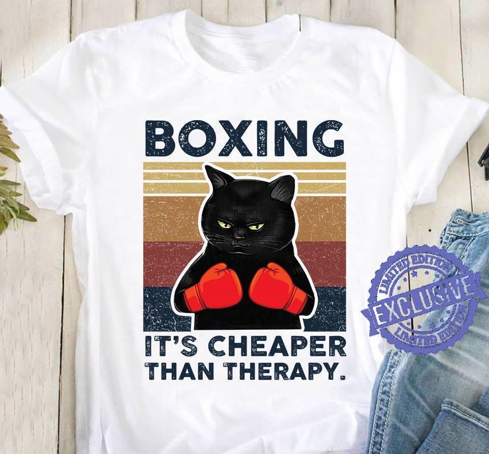 Black Cat Boxing It's Cheaper Than Therapy shirt